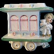Rubens Baby Planter Choo Choo Train Nursery Planter 1950's Japan Figurine