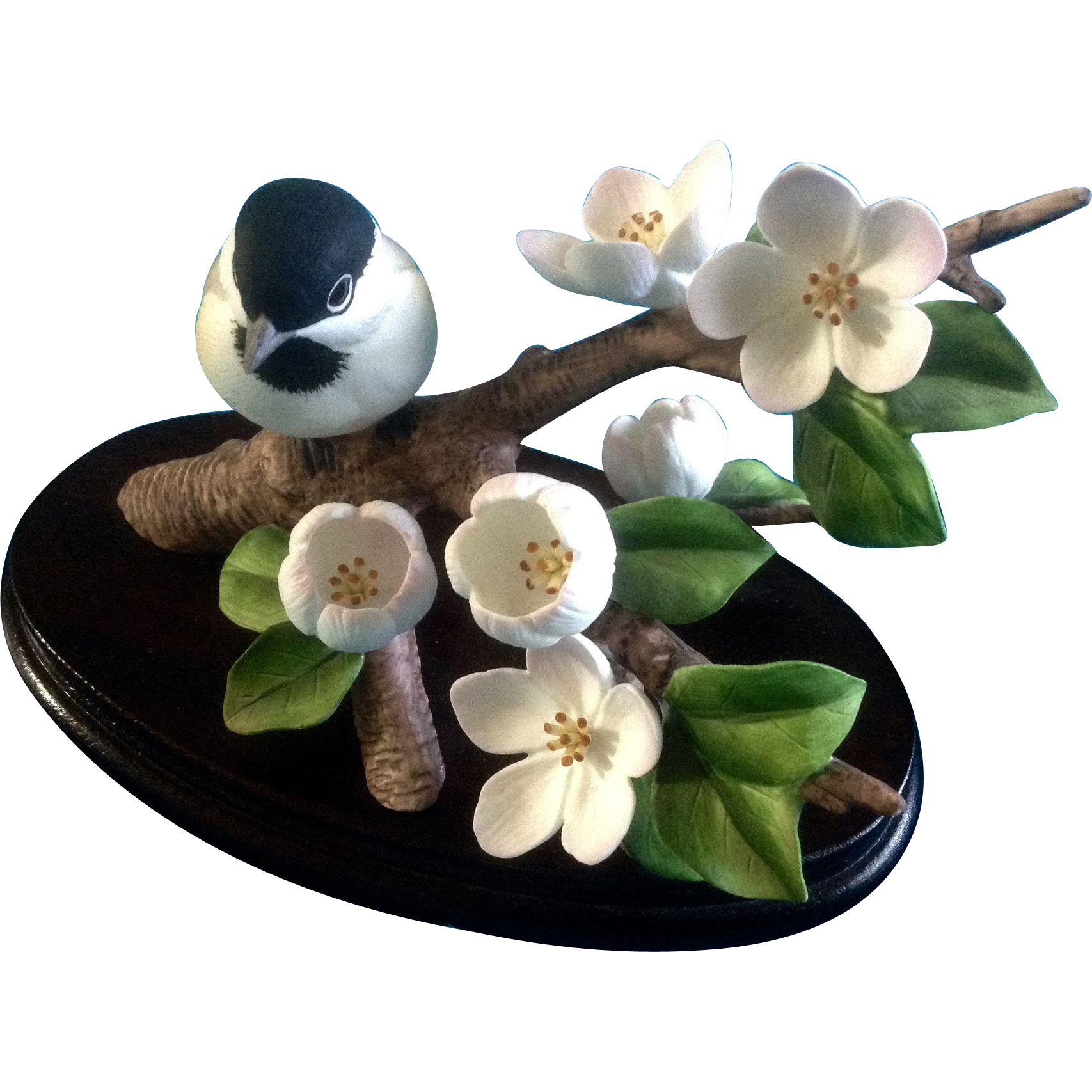 Andrea by sadek chickadee bird cherry blossom flower porcelain from gumgumfuninthesun on ruby lane - Chickadee figurine ...