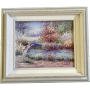 J. Badall Floral Garden Oil Painting on Canvas Board Signed by Artist Shabby Chic