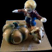 Miniature Bone China Nursery Rhyme Set Peter Pumpkin Eater Made In Japan on Original Cardboard Vintage E-2123