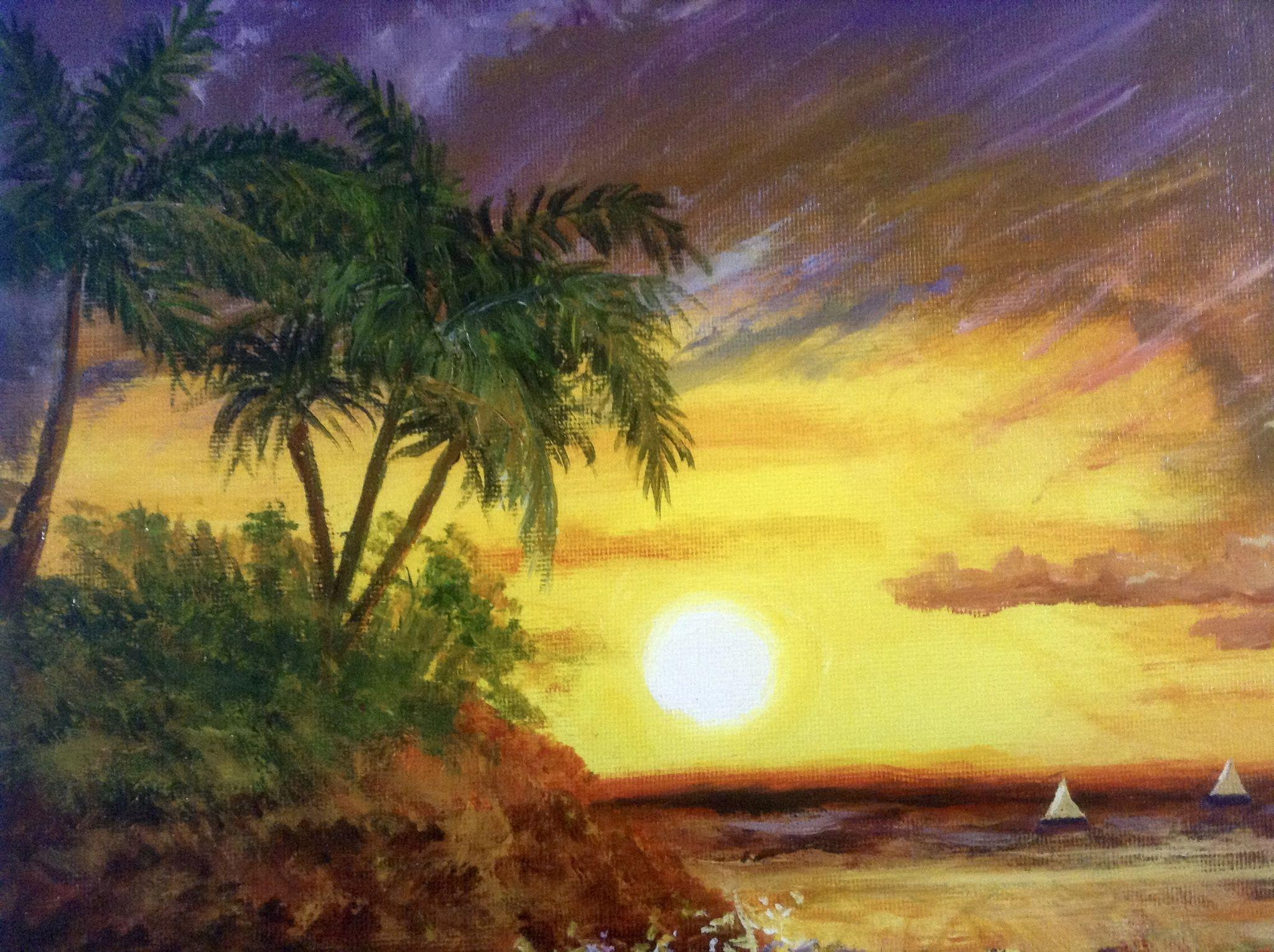 Doreen Mcgraw Acrylic Painting Sunny Colorful Tropical