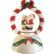 "Josef Originals, George Good Christmas Santa and Mrs. Claus Music Box figurine Plays, ""Santa Claus is coming to Town"""