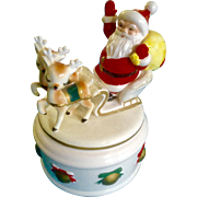 Vintage Lefton Christmas Santa Claus Sleigh & Reindeer Candy Trinket Dish