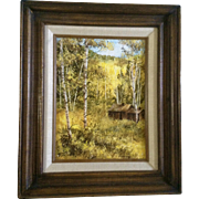 Ladin Stey, Oil Painting on Board, Old House in Aspen Forest, Signed by Artist