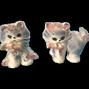 Josef Originals Puff & Fluff Cat Kittens with flowers Japan Ceramic Figurines Vintage