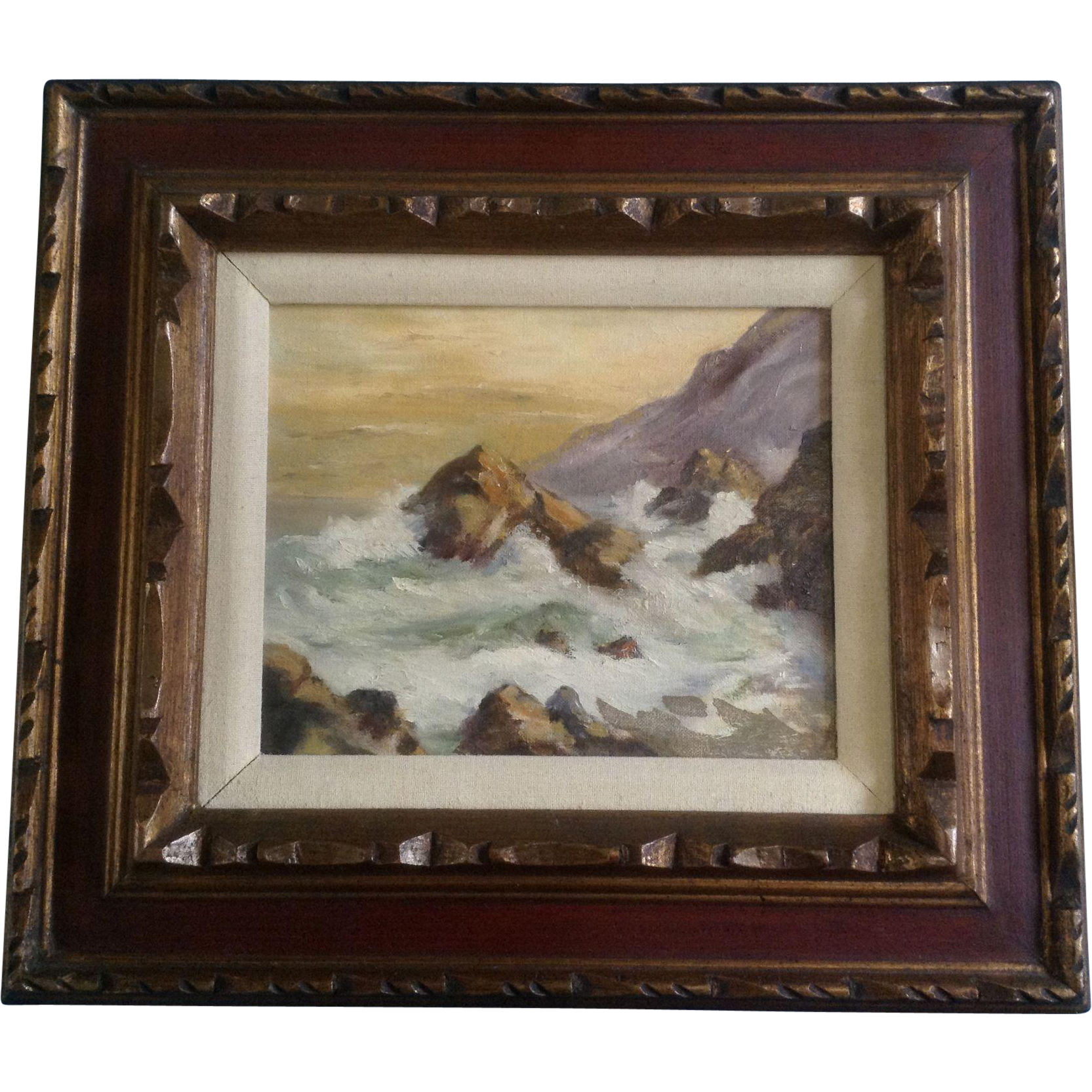 Maret Oil Painting Coastal View Of Waves Crashing On The