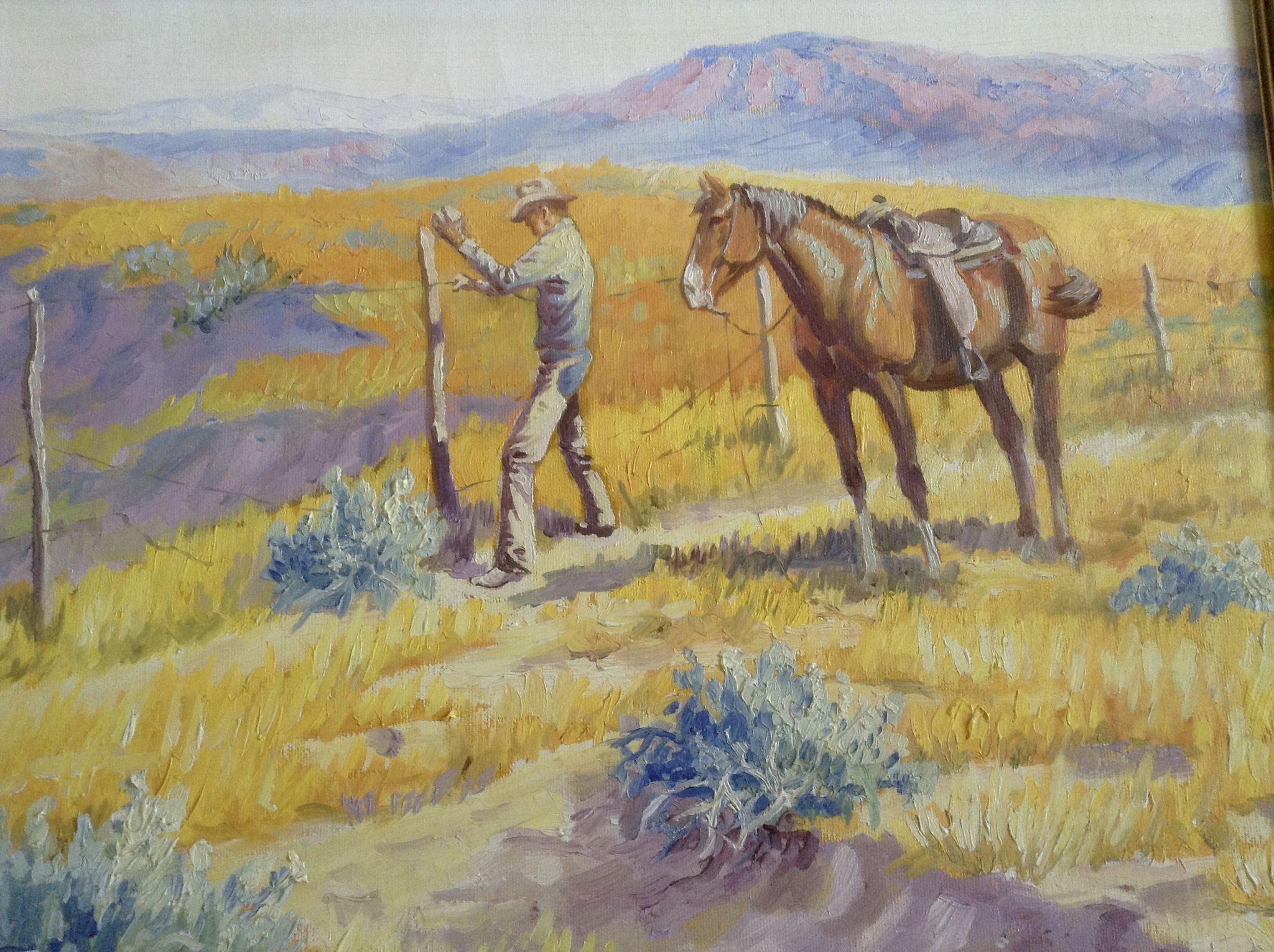Keith Christie Oil Painting Cowboy Repairing A Broken