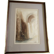 M. A. Koepke, Watercolor Painting, Monk studying in the halls of a Cathedral, Works on Paper Signed by Artist