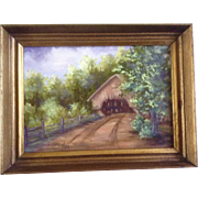 Road to the Old Covered Bridge, Oil Painting on Canvas, Signed by Artist Sharon