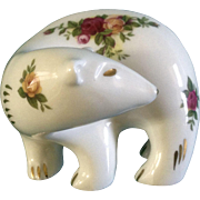 Royal Albert Old Country Roses Pattern Polar Bear Fine China Figurine Hard to Find