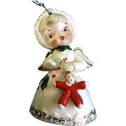 Napco Christmas Angel Bell Holding Baby Doll Ornament Vintage 1959