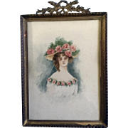Civil War Watercolor Painting Woman with a Large Rose Hat, Works on Paper, Unsigned