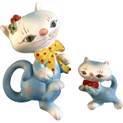 Adorable Kitty Cat & Kitten Wall Plaques Chalkware Hangings Mid-Century
