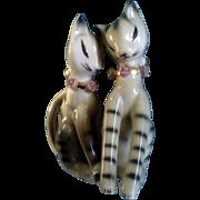 Cat & Roses Salt & Pepper Shakers Ceramic Mid-Century Vintage Japan Figurines