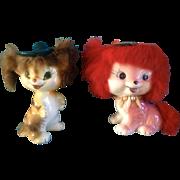 1959 Bradley Fur Dog & Tiger Cat Anthropomorphic California Creations Ceramic Pottery Figurines
