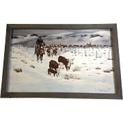 C V Williams, Bringing in the Herd, Cowboys and Cows, Acrylic on Canvas Signed by Artist