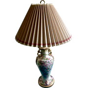 Beautiful Floral Lamp Hand Painted Vintage 1940's-1950's Porcelain