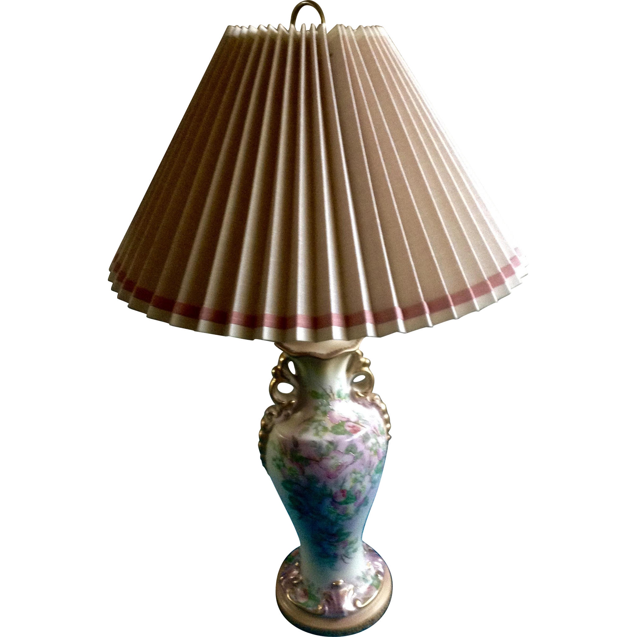 Beautiful Floral Lamp Hand Painted Vintage 1940 S 1950 S