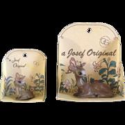 Josef Originals 2 Deer Miniature Japan Figurines Vintage on Original Cards