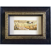 Betty McLean Henderson, Miniature Watercolor Painting, Rural Landscape Homestead, Works on Paper Signed by Artist