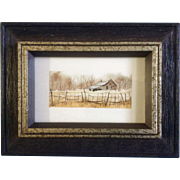 Betty McLean Henderson, Miniature Watercolor Painting, Rural Landscape Homestead Behind Fence, Works on Paper Signed by Artist