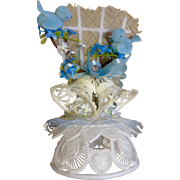 Vintage Amidan's Wedding Cake Topper Blue Birds Hand Made 1983 Never Used Shabby Chic