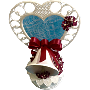 Vintage Amidan's Wedding Cake Topper Burgundy Ribbon White Bell 1983 Hand Made Never Used Shabby Chic