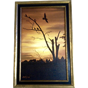 H D Flyer, Acrylic Painting, Dead Tree with Black Birds, Painted on Canvas Board, Signed by Artist