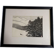 Aoyama Masaharu (Japanese 1893-1969), Snowy Mountain and Japanese Pheasant Woodblock Print o-bosho  chuban 19.5 cm x 26.5 cm, Works on Paper