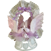 Vintage Amidan's Wedding Cake Topper Lavender Pink Birds 1980's Hand Made Never Used Shabby Chic