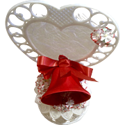 Vintage Amidan's Wedding Cake Topper Red Bell Flowers and Ribbons 1980's Hand Made Never Used Shabby Chic