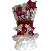 Vintage Wedding Cake Topper, Amidan's, Two Adorable Burgundy Birds And White Bells 1980's Hand Made Never Used Shabby Chic