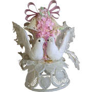 Vintage Wedding Cake Topper, Amidan's, White Doves and Rings Pink Ribbons Hand Made 1980's Never Used Shabby Chic