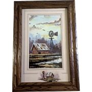 Roger T. Flythe (B 1942), Acrylic Painting, Rusty Red Barn With Water Windmill, Signed by Colorado and New Mexico Artist