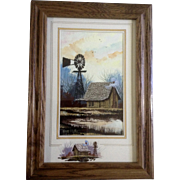 Roger T. Flythe (B 1942), Acrylic Painting, Pond with Old Wooden House and Water Windmill, Signed by Listed Colorado and New Mexico Artist