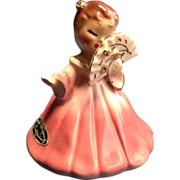 Josef Originals Secret Pal Girl Holding Fan Pink Dress Figurine
