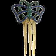 Art Deco Butterfly Celluloid Green & Blue Rhinestone Hair Comb