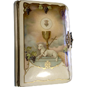 Vintage 1925 Lamb Celluloid Childs Prayer Book Metal Clasp Mother of Pearl Cross Inside