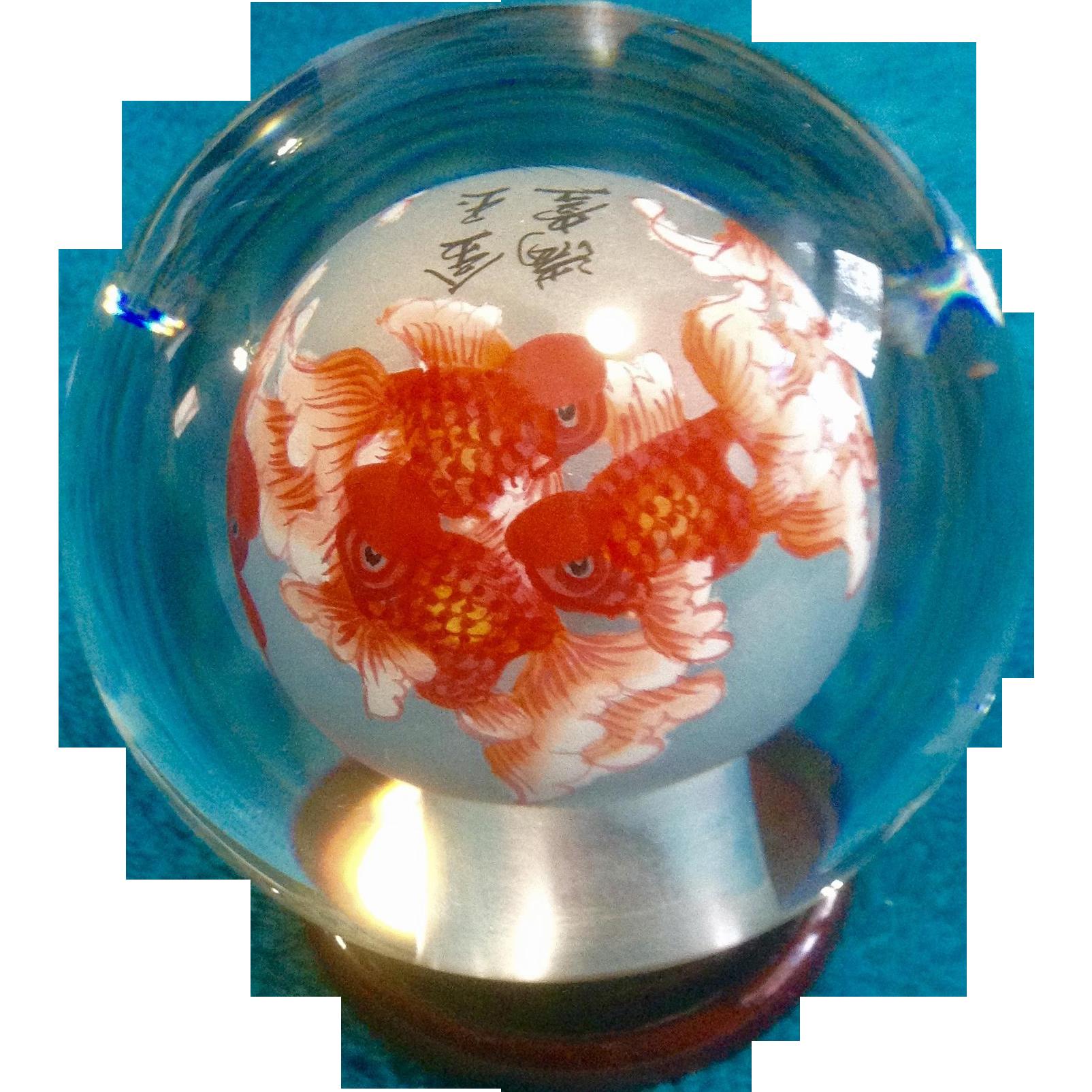 Chinese Inside Painted Glass Globe