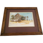 Betsy Jones, Watercolor Painting Old House With Windmill and Old Wagon, Works on Paper, Signed by Artist