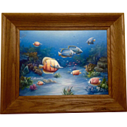 Charles Redmond Benolt, Tropical Fish Oil Painting on Canvas, Signed by Well Collected Listed Florida Artist
