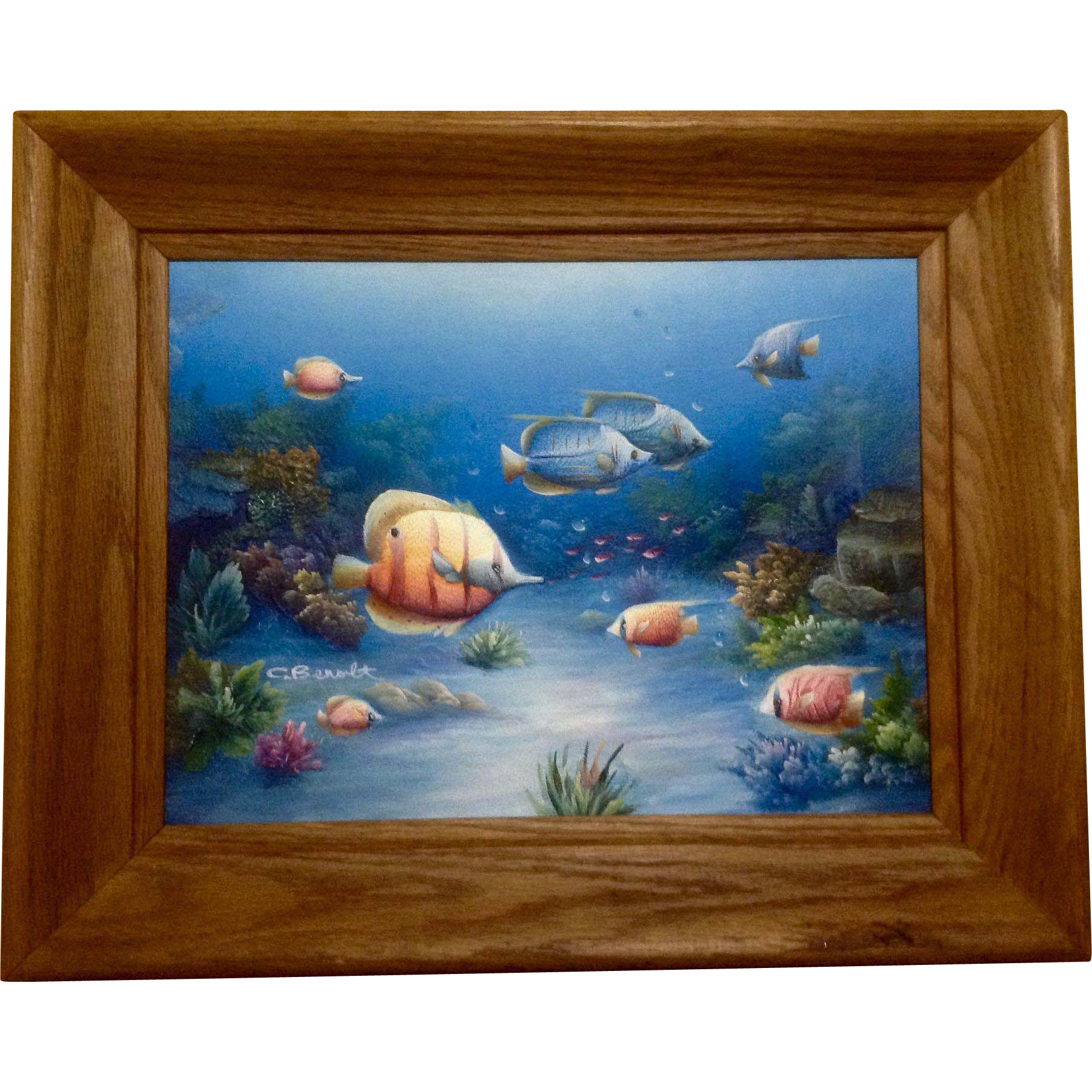 Charles redmond benolt tropical fish oil painting on for Fish paintings on canvas