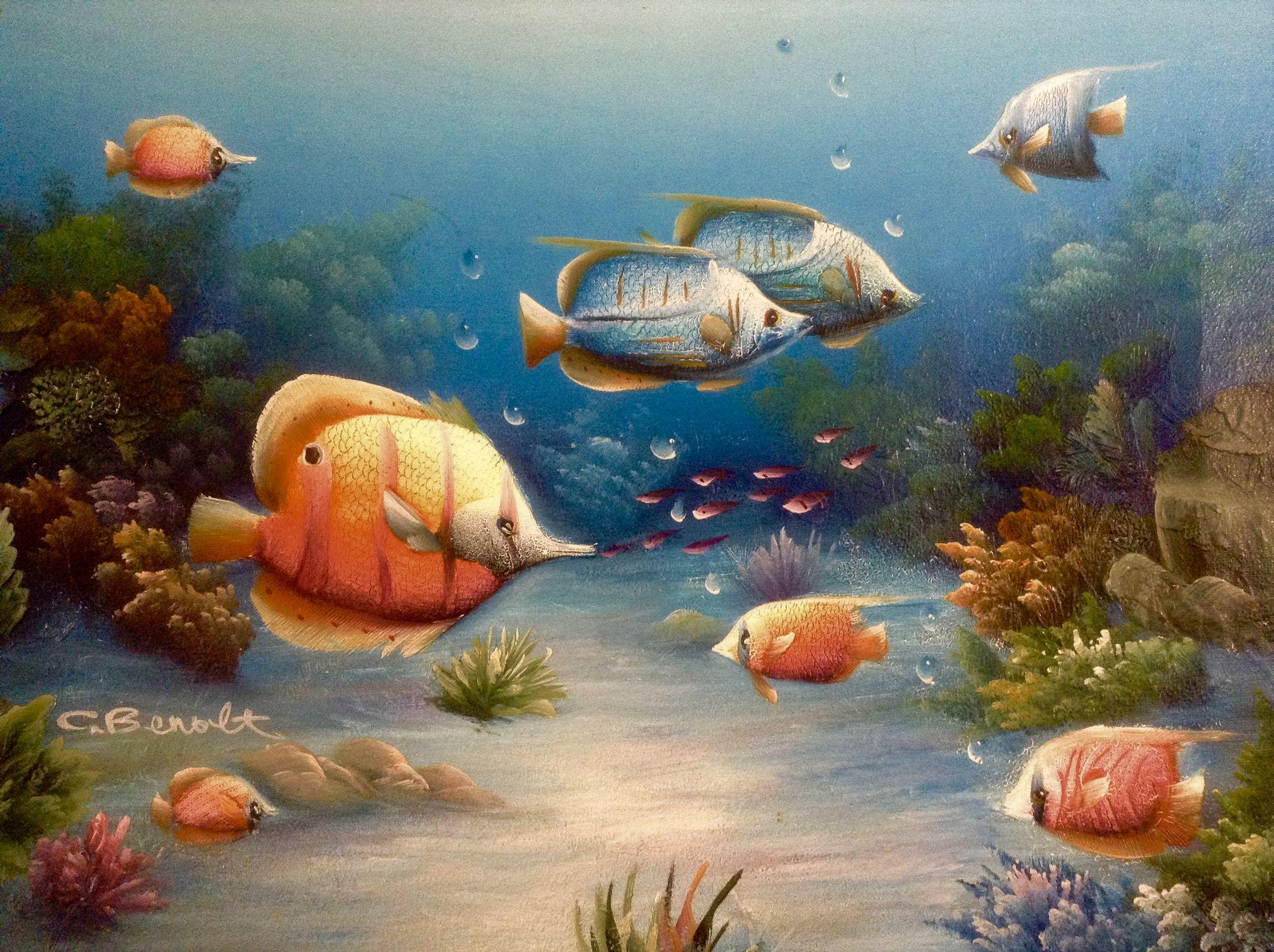 Charles redmond benolt tropical fish oil painting on for Florida tropical fish