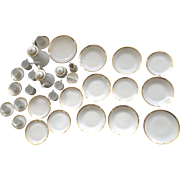 36 pc. Bohemia Czechoslovakia White and Gold Triangle Band Trim Luncheon Set Vintage