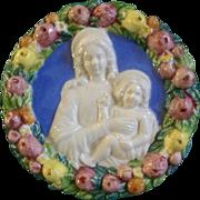"Italian Della Robbia Style Ceramic Roundel of the Madonna and Child With Fruit, Conti E Italy 6"""