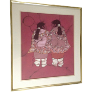 "Katalin Olah Ehling, Original Batik Painting, Southwestern Indian ""Little Sisters"" Breckenridge Galleries, Signed by Listed Southwest Artist"