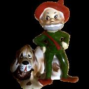 Josef Originals Pixie Elf Hillbilly Grumpy man with Hound Dog Japan Figurine Vintage