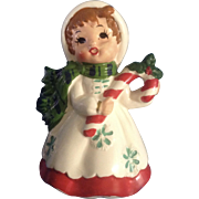 Lefton 7698 Girl Holding Candy Cane Christmas Ceramic Figurine Japan Mid-Century with Original Label