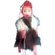 Vintage Monkey Made of Celluloid Plastic & Fur Carnival Circus Prize Japan 1930's Organ Grinder Toy Monkey