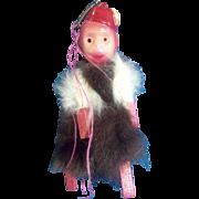 Vintage Monkey Celluloid Plastic & Fur Carnival Circus Prize Japan 1930's Organ Grinder Toy Monkey
